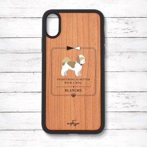 シーズー ゴールド&ホワイト(Classical) 衝撃吸収タイプ 木製iPhoneケース