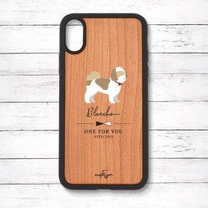 シーズー ゴールド&ホワイト(Simple) 衝撃吸収タイプ 木製iPhoneケース