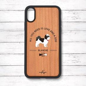 シーズー ブラック&ホワイト(Basic) 衝撃吸収タイプ 木製iPhoneケース