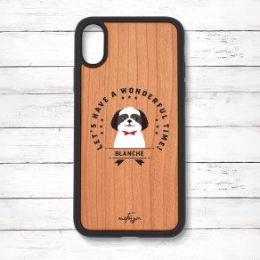 シーズー ブラック&ホワイト(Emblem) 衝撃吸収タイプ 木製iPhoneケース