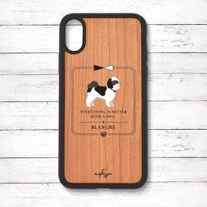 シーズー ブラック&ホワイト(Classical) 衝撃吸収タイプ 木製iPhoneケース
