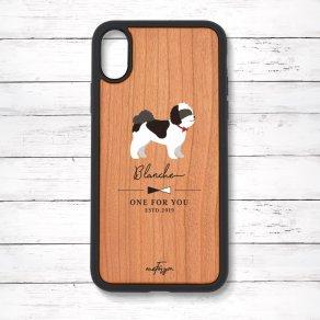 シーズー ブラック&ホワイト(Simple) 衝撃吸収タイプ 木製iPhoneケース