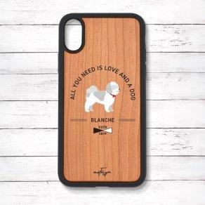 シーズー グレー&ホワイト(Basic) 衝撃吸収タイプ 木製iPhoneケース