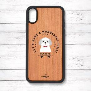 シーズー グレー&ホワイト(Emblem) 衝撃吸収タイプ 木製iPhoneケース