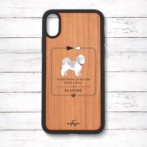 シーズー グレー&ホワイト(Classical) 衝撃吸収タイプ 木製iPhoneケース