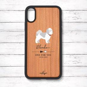 シーズー グレー&ホワイト(Simple) 衝撃吸収タイプ 木製iPhoneケース