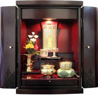 仏壇 ミニ仏壇 モダン仏壇 コンパクト 仏具一式セット 洋風 リマイン ワインレッド 16号