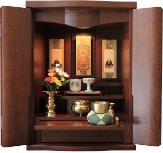 仏壇 ミニ仏壇 モダン仏壇 コンパクト 仏具一式セット 洋風 クレア 18号 ウォールナット