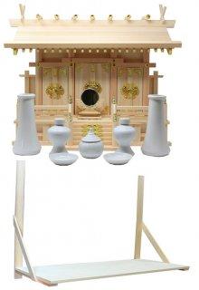神棚 通し屋根三社 小 神具 神鏡 棚板セット 雲シール付 日本製 国産檜