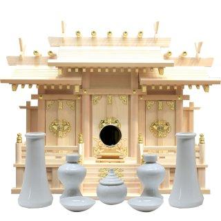 神棚 屋根違い三社 中 神具・神鏡セット 雲シール付 日本製 国産檜