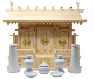 神棚 通し屋根三社 中 神具セット 雲シール付 日本製 国産檜 送料無料
