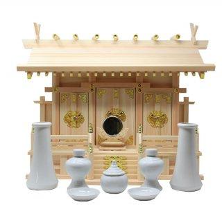 神棚 通し屋根三社 中 神具・神鏡セット 雲シール付 日本製 国産檜