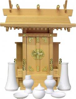 神棚 中神明 神具セット 雲シール付  日本製 国産桧 送料無料