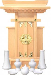 神棚 大神宮 袖付 神具セット 雲シール付  日本製 国産桧 送料無料