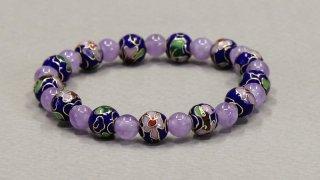 腕輪数珠 七宝焼 紫瑪瑙交互仕立 全宗派対応 送料無料
