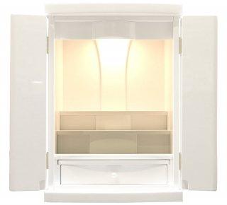 ミニ仏壇 白 モダン仏壇 18号 ピュア 白いお仏壇 鏡面仕上 LEDライト コンパクト 小型 上置き 全宗派対応