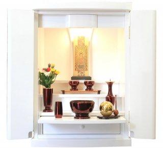 ミニ仏壇 白 モダン仏壇 18号 ピュア 白いお仏壇 鏡面 LED コンパクト 小型 上置き モダン仏具 ワインレッド たまゆらりん 仏具セット 全宗派対応 送料無料