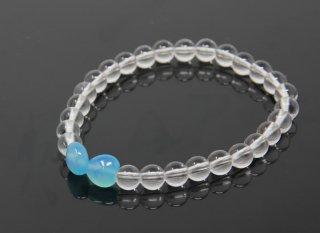腕輪数珠 水晶 アクアメノウ ハート型 ブレスレット 全宗派対応 送料無料