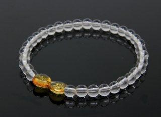 腕輪数珠 水晶 トパーズ ハート型 ブレスレット 全宗派対応 京念誦 送料無料