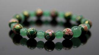 腕輪数珠 七宝焼(緑) 翡翠 ブレスレット 全宗派対応 京念誦 送料無料