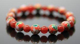 腕輪数珠 七宝焼(赤) 瑪瑙 ブレスレット 全宗派対応 京念誦 送料無料