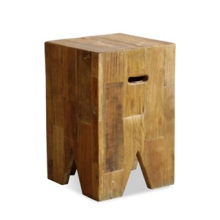 古材の四角いスツール兼サイドテーブル
