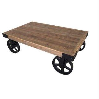 車輪付き古材のリビングテーブル