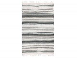 綿を繊細に、丁寧に織り上げ、薄手に仕上げたストライプのラグ 120x180