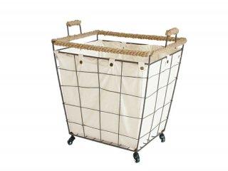 アイアンで作られたシンプルなカートの持ち手、縁部分に麻をあしらったランドリーカート LOW
