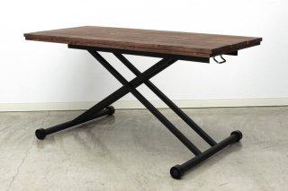 オイルで仕上げた古木調のパイン無垢を一枚一枚ジグザグに貼り合わせたリフティングテーブル