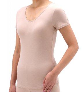 日本製 レディース半袖インナーシャツ ナノミックス 綿混 ベージュ 黒 M〜L|日本アトピー協会推薦品 乾燥肌 敏感肌 かゆくならない ムレない 消臭抗菌 吸水速乾  下着 肌着