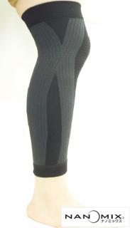 日本製 Xフィットサポート(ロング)  ナノミックス 黒 限定30枚売り切り 1枚 |日本アトピー協会推薦品 サポーター 一般医療機器 ムレない かゆくならない ひざ ふくらはぎ 血行促進 敏感肌