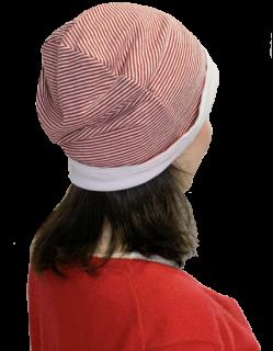 日本製 薄手リバーシブルキャップ ナノミックス 赤×白 ストライプ|日本アトピー協会推薦品 乾燥肌 敏感肌 医療用 抗がん剤 術後ケア 薄毛隠し 白髪隠し