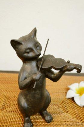 バイオリンネコオブジェ(ブロンズ調 Mサイズ)