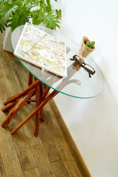 チーク ヴィオラ ガラステーブル (ナチュラルカラー)