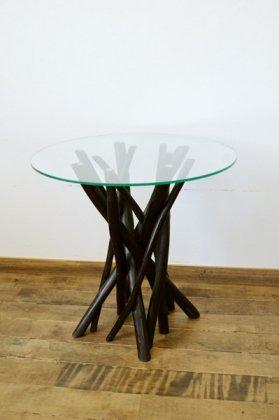 チーク ヴィオラ ガラステーブル (ダークブラウンカラー)