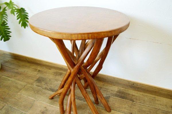 【1月中旬入荷予定】ARチークの根の花台サイドテーブル(ナチュラルカラー)