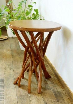 【4月中旬入荷予定】ARチークの根の花台サイドテーブル(ナチュラルカラー)
