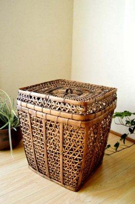 ロンボク島のキューブバスケット(Lサイズ)