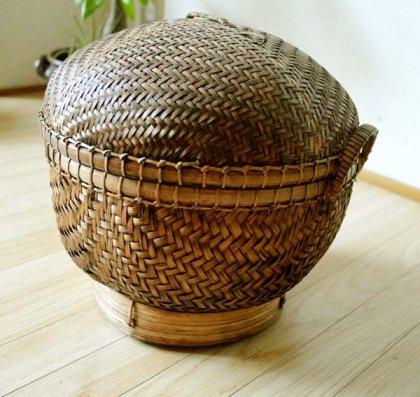 バリ島のラウンドバスケット(Lサイズ)