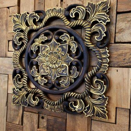 【11月上旬入荷予定】バリ島のウッドレリーフ 40×40(JAWA彫刻花柄/ゴールド&ブラウン)