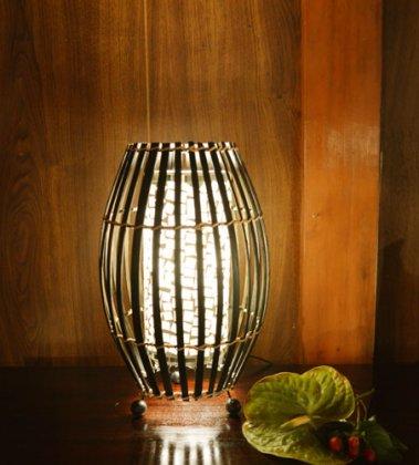 バンブーとモザイクガラスのランプ(白)