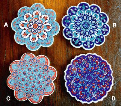 トルコ製 陶器のデザインプレート(全7色)