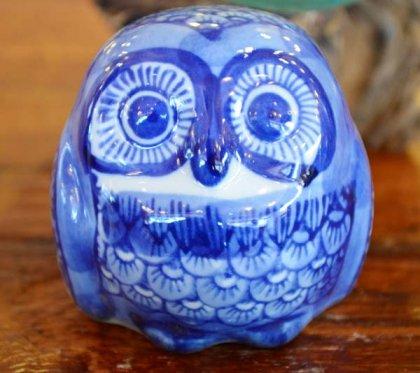 陶器ミニフクロウ(ブルー)A