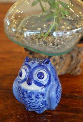 陶器ミニフクロウ(ブルー)B