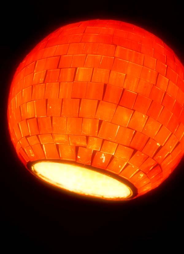 モザイクガラスボールペンダントライト(オレンジ)