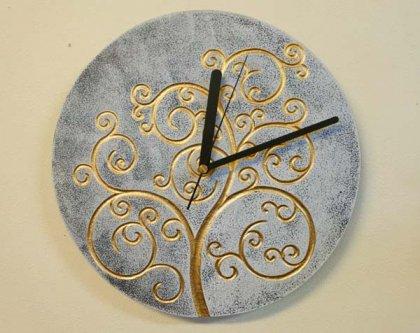 ジャワツリー壁掛け時計(ホワイト)