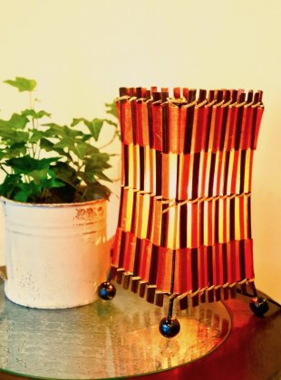 オレンジレッドのバンブーコットンランプ