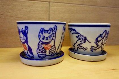 陶器のミニポット(ネコ・ウサギ)