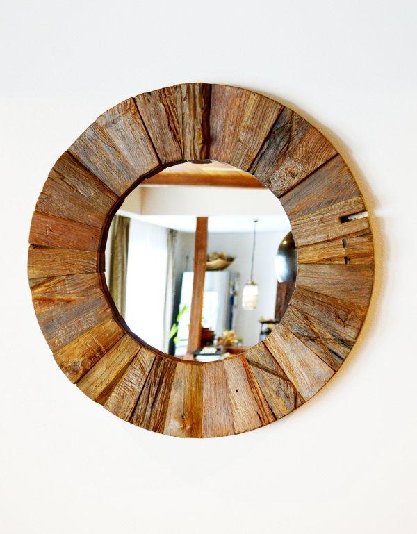 古木チーク材のモザイク ラウンドミラー(ナチュラルカラー)
